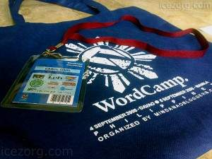 wordcamp bag and badge